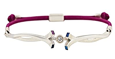 Addicted Diamonds sterling silver friendship bracelet with 0.1 carat diamond on a purple cord
