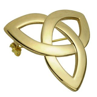Gold Plated Trinity Knot Brooch-Made in Ireland