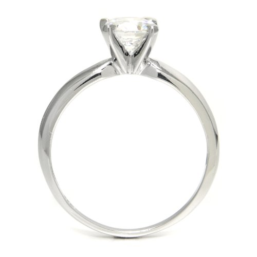 Sz 7 Sterling Silver Cubic Zirconia Solitaire 1.25 Carat tw Round Cut 4-Prong Set CZ Engagement Ring