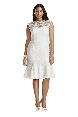 Lace Cap Sleeve Plus Size Short Wedding Dress Style 9SDWG0207, Soft White, 18W