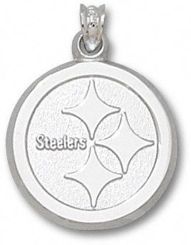 Pittsburgh Steelers 3/4'' Sterling Silver Circle Logo Pendant