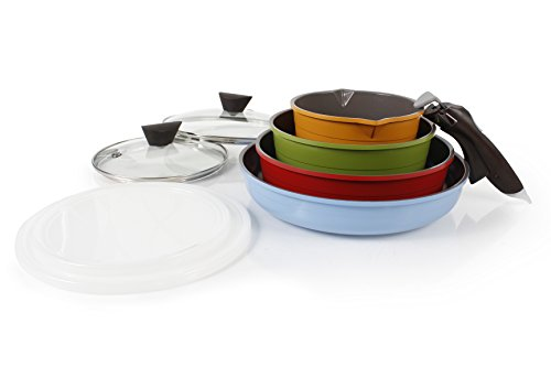 Neoflam Midas Cast 9-Piece Aluminum Cookware Set with Detachable Handle, Multicolored