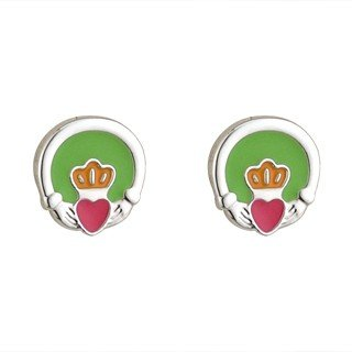 Rhodium and Enamel Claddagh Stud Earrings-Made in Ireland