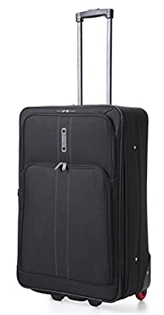 Frenzy® Large 26 Inch Expandable Lightweight Luggage Suitcase Bag - 3 Years Warranty (Black 602)