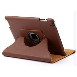 KolorFish iRotation 360 Degree Rotate Leather Flip Stand Case Cover For Apple iPad 2, iPad 3 & iPad 4 - Brown