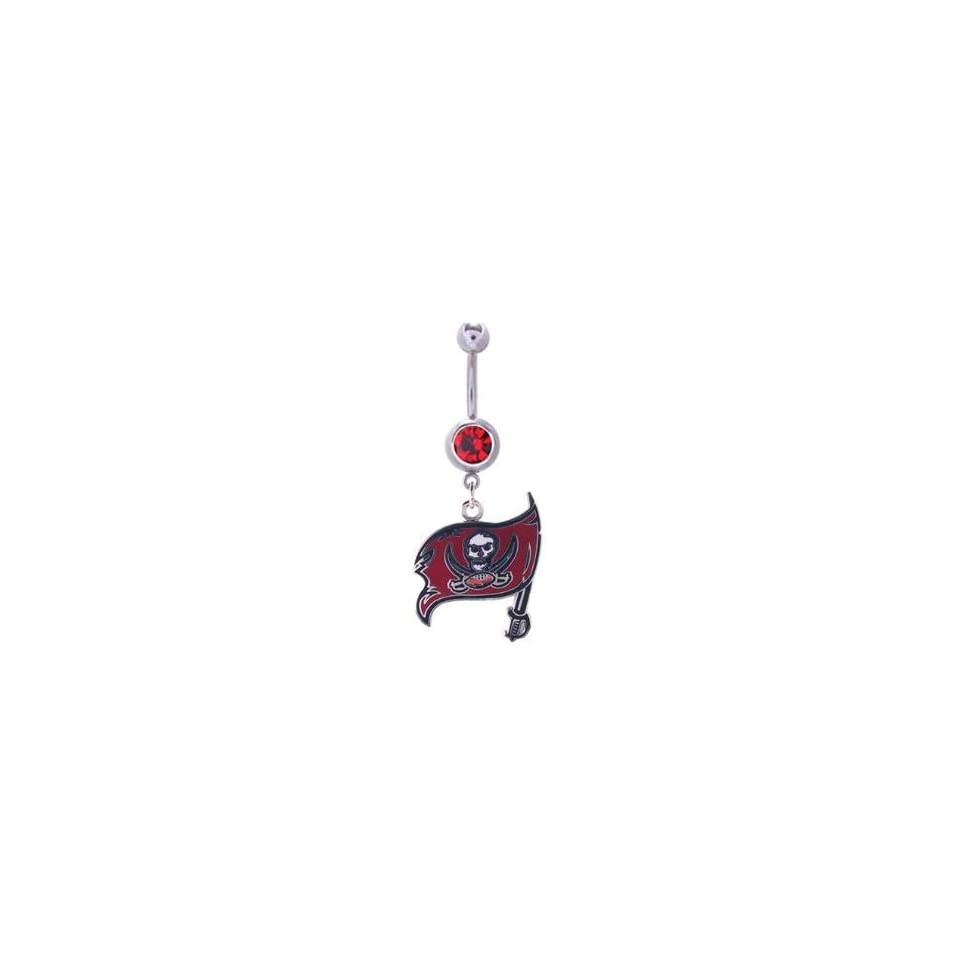 Tampa Bay Buccaneers 316L Stainless Steel Belly Ring with Cubic Zirconia   14G   5/8 Inch Bar Length   Sold Individually