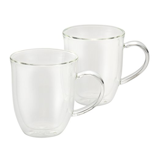 BonJour Coffee Insulated Borosilicate Glass Latte Cups, 2-Piece Set, 12-Ounces Each (Elegant Coffee Cups compare prices)