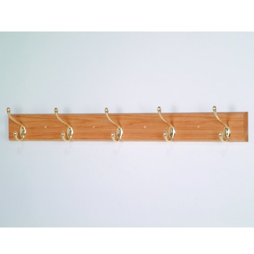 Wooden Mallet 36-Inch 5-Brass Hook Coat Rack, Light Oak