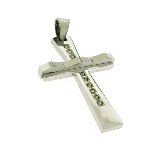 Silver Tone Stainless Steel modern Cross CZ Pendant