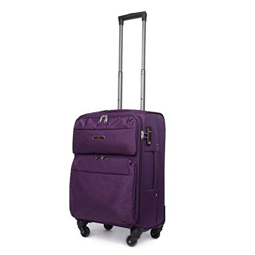 Valigia Morbida Trolley Bagagli a Mano Bagaglio da Aereo con 4 Ruote 360° Viola 49cm 36 Litri 20IN