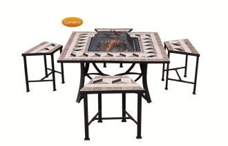 Gardeco Lomond Square Fire Bowl Table Four Seats Fb505square by GreatGardensOnline