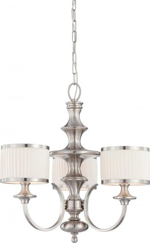 Nuvo 60/4734 Candice Brushed Nickel Three Light Chandelier