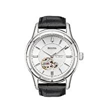 Luxury Watches - Bulova Men's Mechanical Hand-Wind Automatic Strap Silver White Dial Watch #96A111