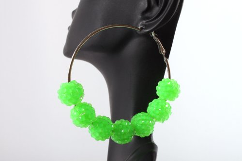 Neon Green Shamballah 2.25 Inch Hoop Earrings with 7 Disco Balls Basketball Mob Wives Lady Gaga Poparazzi