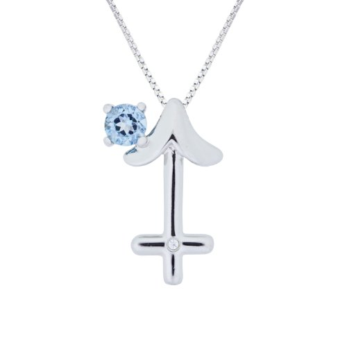 Sterling Silver Swiss Blue Topaz and Diamond Sagittarius Pendant Necklace (0.005 cttw, I-J Color, I2-I3 Clarity), 18