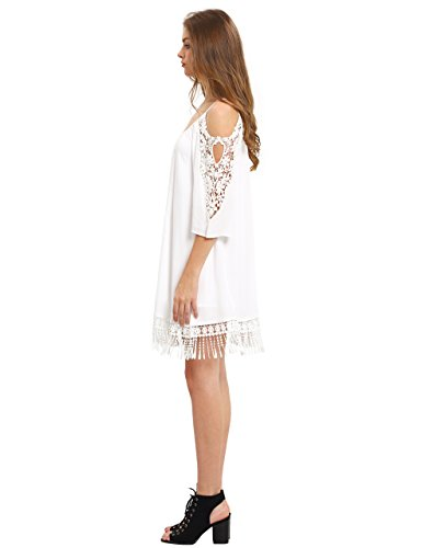Milumia Women's Summer Cold Shoulder Crochet Lace Sleeve Loose Beach Dress White XS