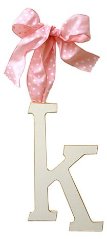 New Arrivals Wooden Letter K with Pink Polka Dot Ribbon, Cream