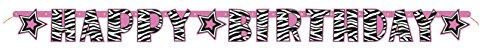 5ft Zebra Print Happy Birthday Banner - 1
