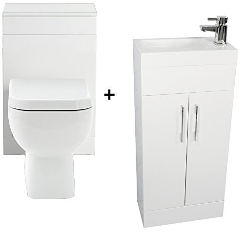 Zara White 400 Bathroom Vanity Combination Unit Cloakroom Suite 500 Square Back To Wall Toilet, Pan, Soft Close Seat, York Mini Tap Un Slotted Waste