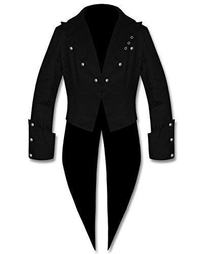 Banned Nero Da Uomo Steampunk Gotic VINTAGE Stile Vittoriano Frac frac Giacca - cotone, Nero, 100% cotone 100% cotone, Uomo, Medium