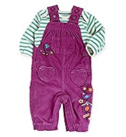 2 Piece Pure Cotton Embroidered Corduroy Dungaree Outfit