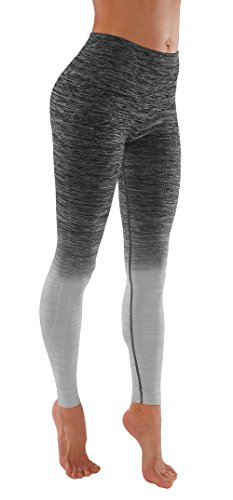 Women's Flexible Yoga Pants Ombre Leggings Activewaer L704 (S, L704-Bl.Grey)