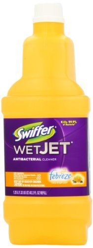 Great for vinyl, glazed ceramic, sealed marble, laminate and finished wood floors - Swiffer Wet Jet Antibacterial Cleaner with Febreze Citrus and Light Scent, Cleaner Refill