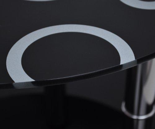 glastisch rund beistelltisch ecktisch couchtisch schwarz mit edelstahl und 8 mm esg. Black Bedroom Furniture Sets. Home Design Ideas