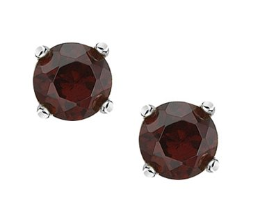 Sterling Silver 925 Genuine Garnet 4mm Brilliant Round Stud Earrings [Jewelry]