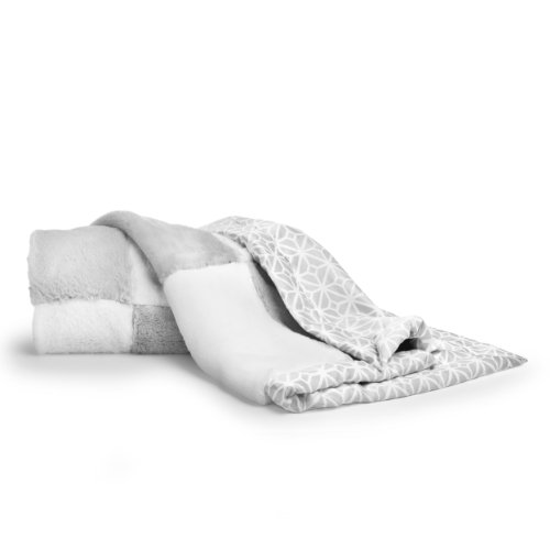 CoCaLo Mix & Match Patchwork Fur Blanket, Silver