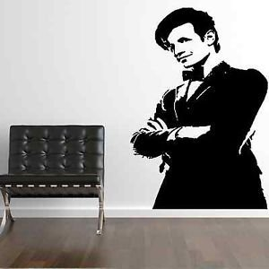 Iconic Stickers - The Doctor Who Timelord Matt Smith Bow tie DW Wall Sticker Art Design Mural C20 - Mirror Image - Size: Small - Colour: White