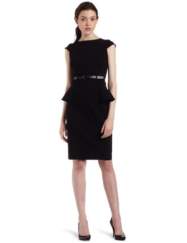 XOXO Juniors Solid Belted Peplum Dress, Black, 7/8