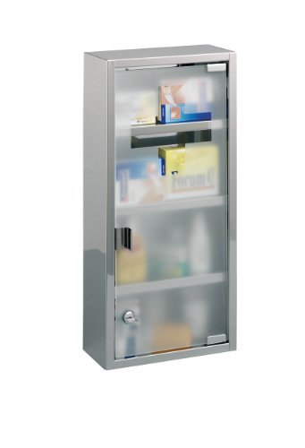 zeller-18112-armoire-a-pharmacie-en-acier-inoxydable-27-x-12-x-57-cm