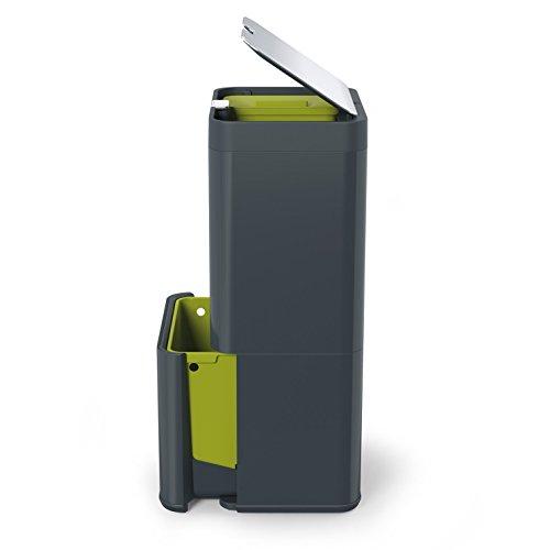 Joseph Joseph Intelligent Waste Totem Garbage and Recycling Unit, 16 gallon, Graphite