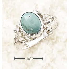 Sterling Silver Turquoise Ring With Small Flower Split Shank - Size 7.0