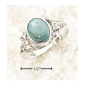 Sterling Silver Turquoise Ring With Small Flower Split Shank - Size 5.0