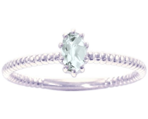 14K White Gold Petite Oval Gemstone Solitaire Stackable Ring-White Topaz, size7
