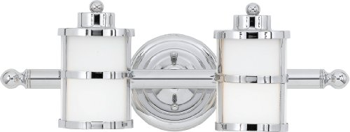 Quoizel TB8602C Tranquil Bay 6-1/2-Inch Bath Fixture with Opal Etched Glass, Polished Chrome, 2-Lights