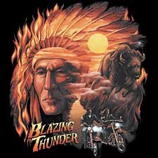Blazing Thunder Motorcycle T-shirt, Chopper T-shirts, Biker T-shirts, XX-Large, Black