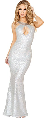 LEA Hollow Backless Sexy Maxi Long Gown Lingerie Clubwear Cocktail Party Dress + G-string (Silver)