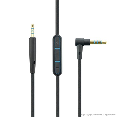 Geekria discount duty free Bose QC25 Replacement Cable with Mic and Volume Control / Headphones Cord (Mic Only Compatible with PC, iPhone, iPad, iPod)