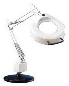 "Luxo Magnifier Ifm 3 Diopter Diopter 30"" Arm Weighted Base Lt Gray"