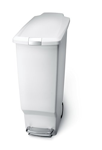 simplehuman Slim Plastic Step Trash Can, White Plastic, 40 L / 10.6 Gal (Large Commercial Garbage Can compare prices)
