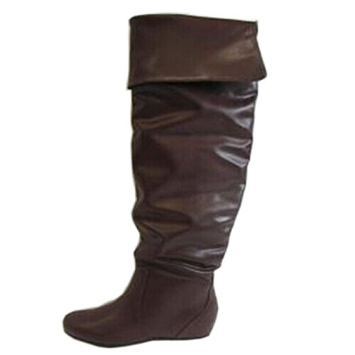 Soda Frib Women'S Distressed Faux Leather Fold Down Flat Knee High Boot, Color:Dark Brown, Size:7.5