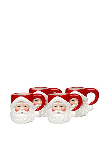 Cosmos Gifts 10257 Ceramic Santa Mug, 4-1/8-Inch, Set of 4