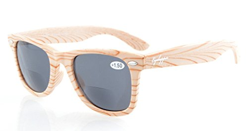 Eyekepper White Stripe legno di bambù design classico bifocale Sun Lettori bifocali occhiali da sole +2.5