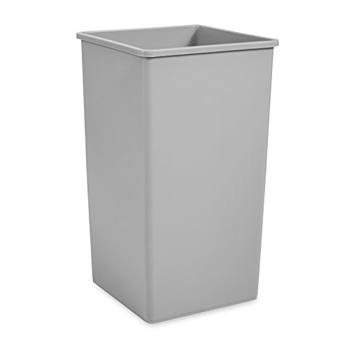 Rubbermaid Commercial FG395900GRAY Square 50-Gallon Untouchable Trash Can, Gray