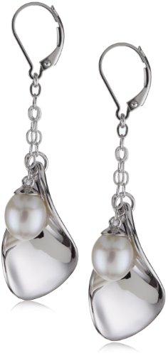 ELLE Jewelry Pearl and Petal Dangle Sterling Silver Earrings
