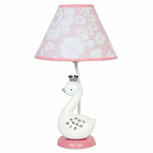 Lambs & Ivy Swan Lake Lamp with Shade and Bulb, Pink/White/Grey