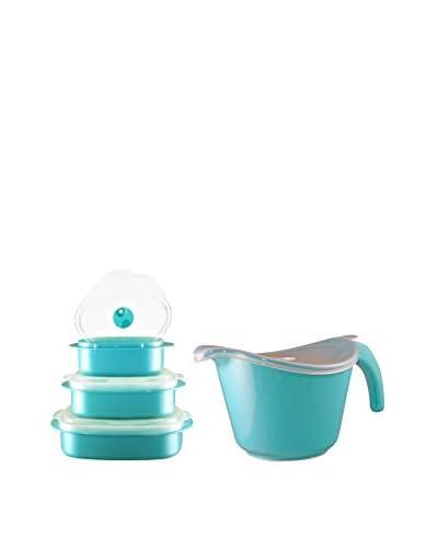 Reston Lloyd Turquoise Blue 8-Piece Microwave Safe Batter Bowl & Storage Set